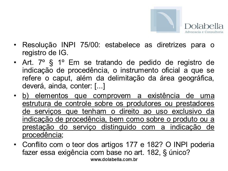 Resolução INPI 75/00: estabelece as diretrizes para o registro de IG.