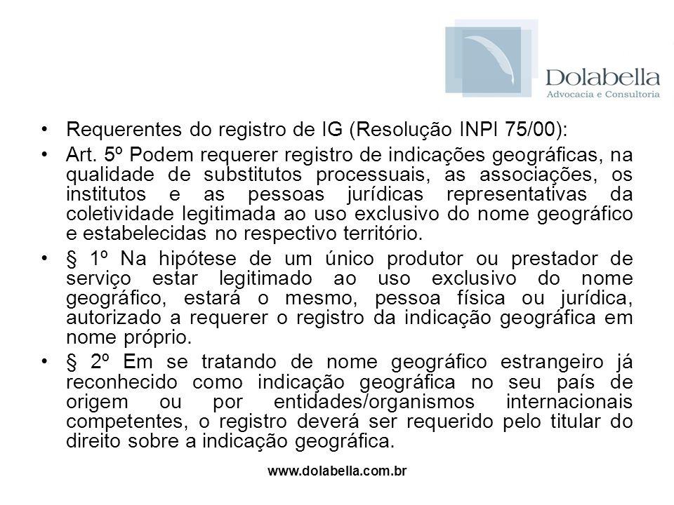 Requerentes do registro de IG (Resolução INPI 75/00):