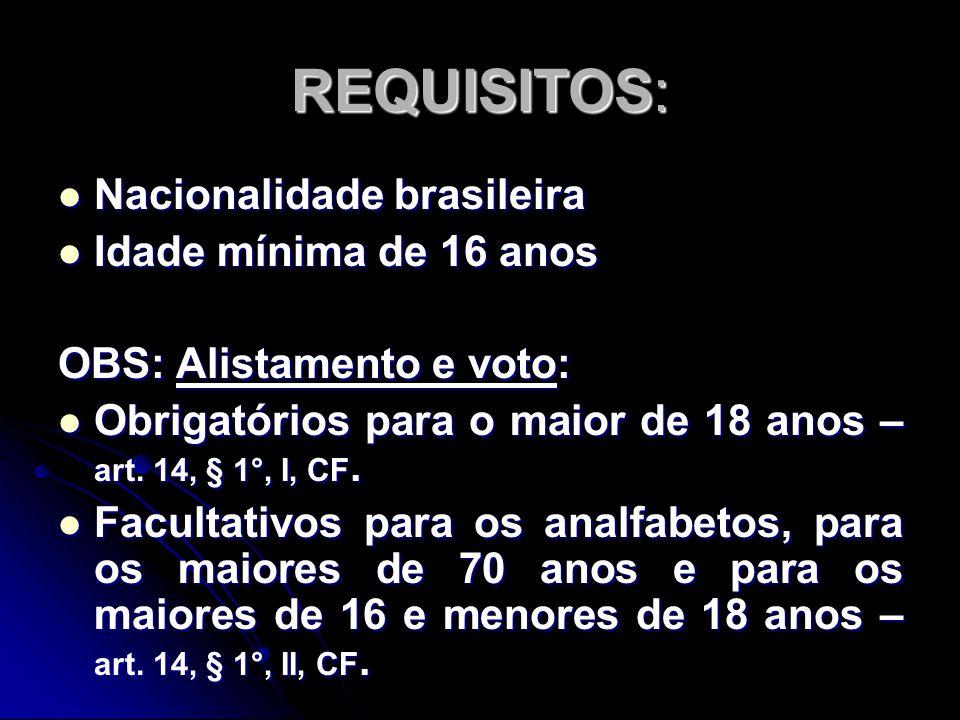 REQUISITOS: Nacionalidade brasileira Idade mínima de 16 anos