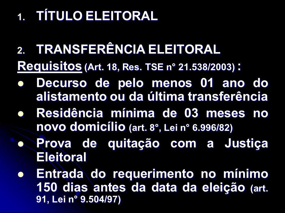 TÍTULO ELEITORAL TRANSFERÊNCIA ELEITORAL. Requisitos (Art. 18, Res. TSE n° 21.538/2003) :