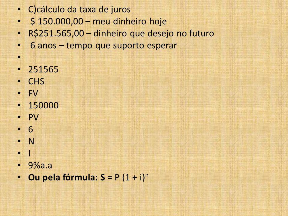 C)cálculo da taxa de juros