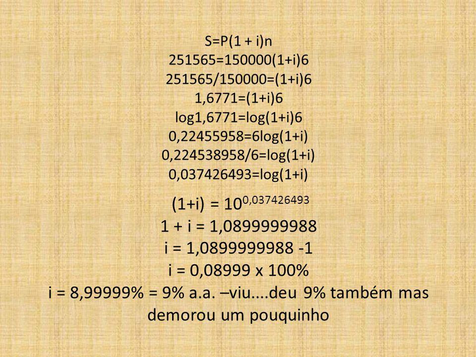 S=P(1 + i)n 251565=150000(1+i)6 251565/150000=(1+i)6 1,6771=(1+i)6 log1,6771=log(1+i)6 0,22455958=6log(1+i) 0,224538958/6=log(1+i) 0,037426493=log(1+i) (1+i) = 100,037426493 1 + i = 1,0899999988 i = 1,0899999988 -1 i = 0,08999 x 100% i = 8,99999% = 9% a.a.