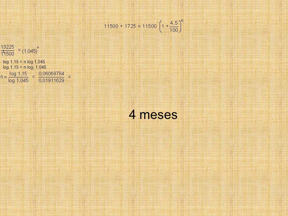 4 meses L log 1,15 = n log 1,045 log 1,15 = n log, 1,045