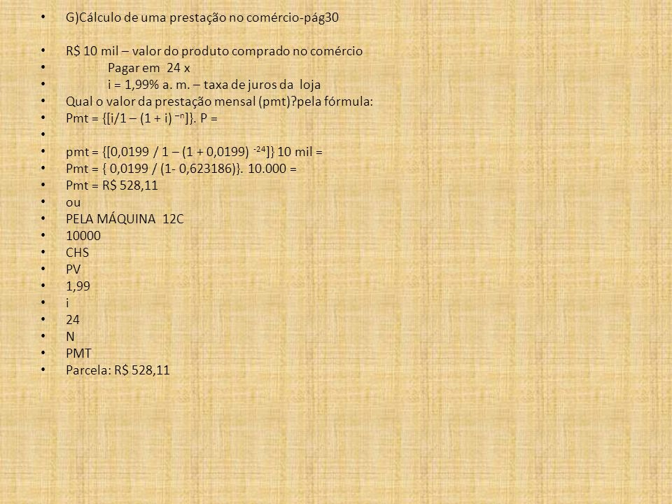 G)Cálculo de uma prestação no comércio-pág30