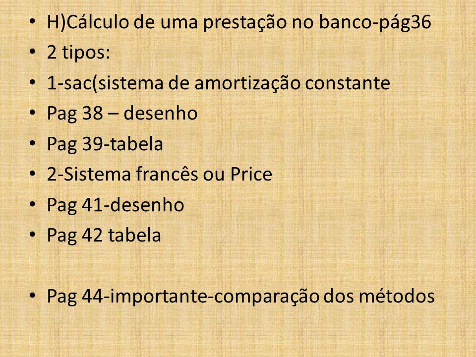 H)Cálculo de uma prestação no banco-pág36