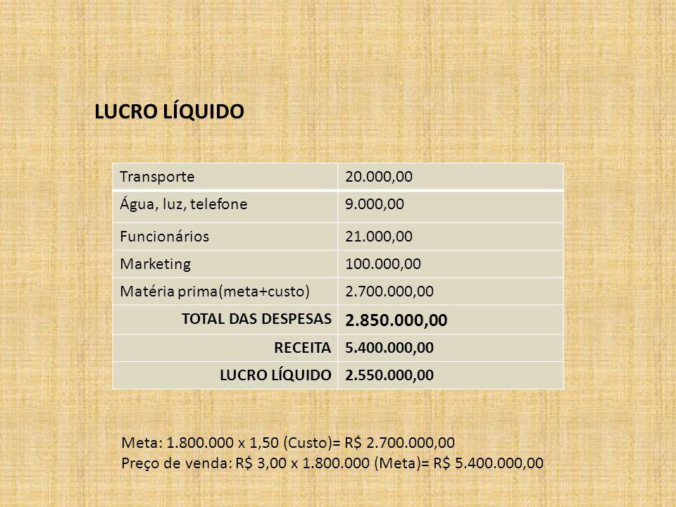 LUCRO LÍQUIDO 2.850.000,00 Transporte 20.000,00 Água, luz, telefone