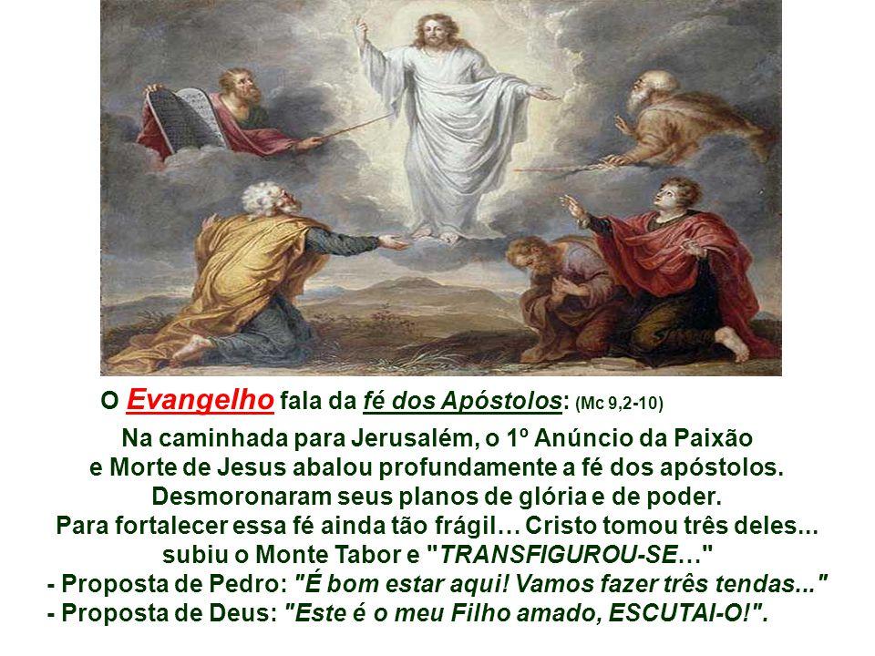 O Evangelho fala da fé dos Apóstolos: (Mc 9,2-10)