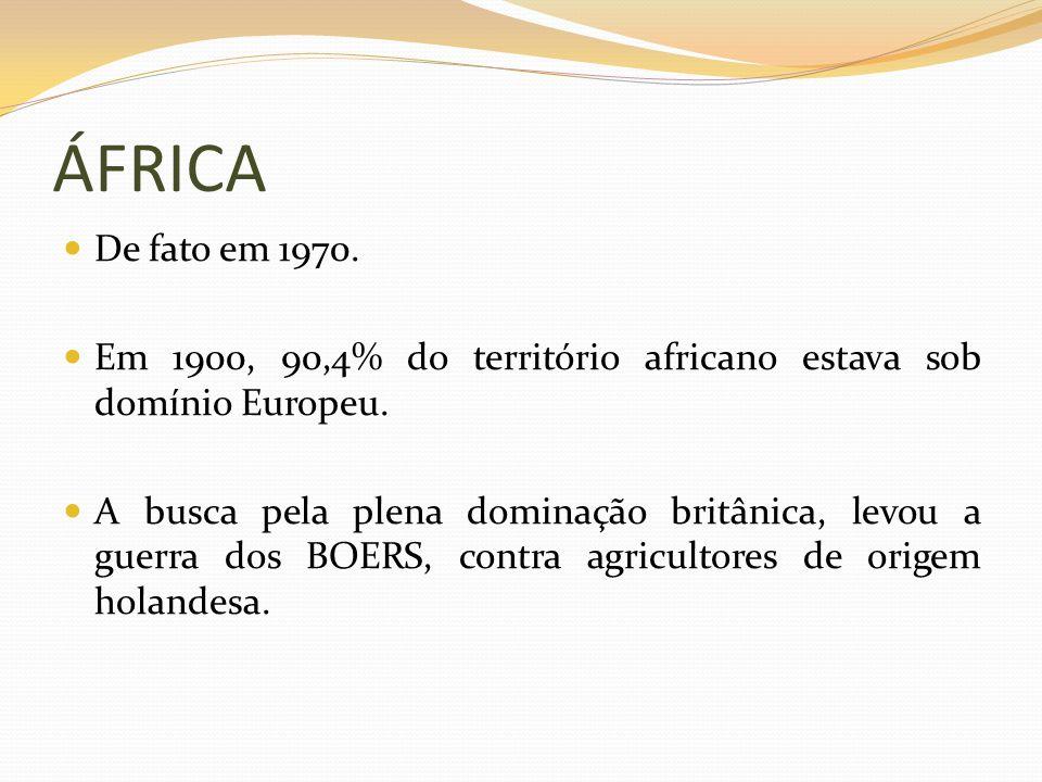 ÁFRICA De fato em 1970. Em 1900, 90,4% do território africano estava sob domínio Europeu.