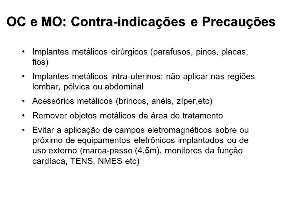 OC e MO: Contra-indicações e Precauções