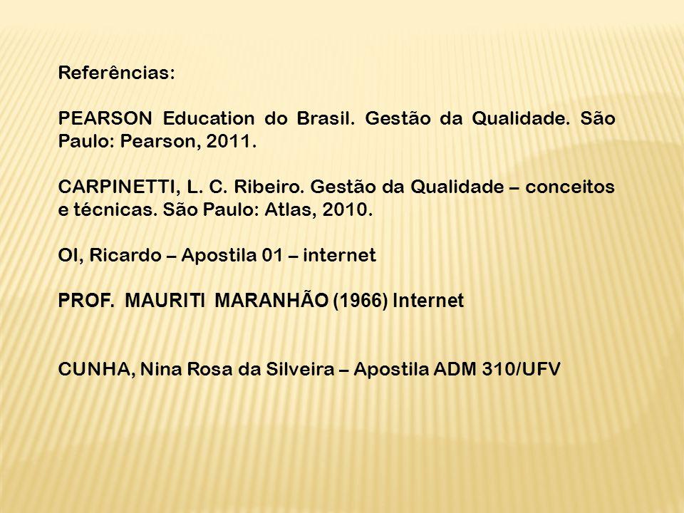 Referências: PEARSON Education do Brasil. Gestão da Qualidade. São Paulo: Pearson, 2011.