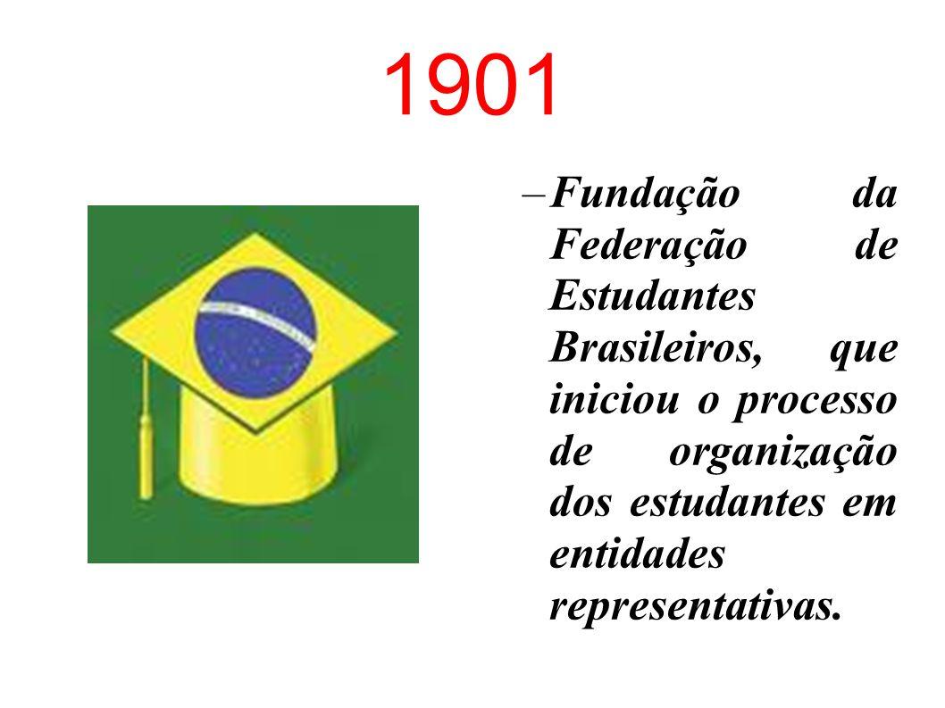 1901 Fundação da Federação de Estudantes Brasileiros, que iniciou o processo de organização dos estudantes em entidades representativas.