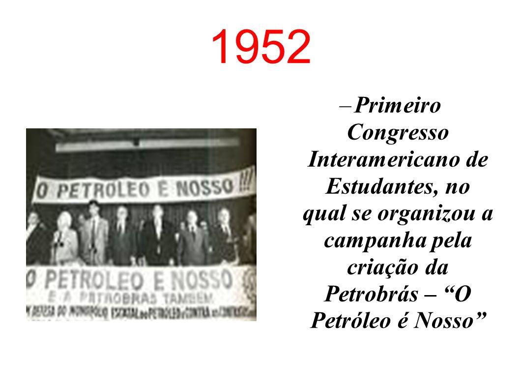 1952 Primeiro Congresso Interamericano de Estudantes, no qual se organizou a campanha pela criação da Petrobrás – O Petróleo é Nosso