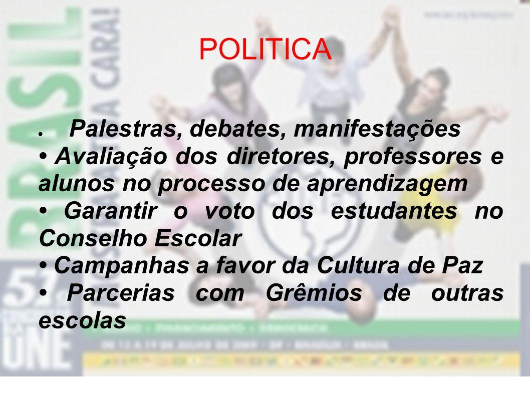 POLITICA Palestras, debates, manifestações. • Avaliação dos diretores, professores e alunos no processo de aprendizagem.