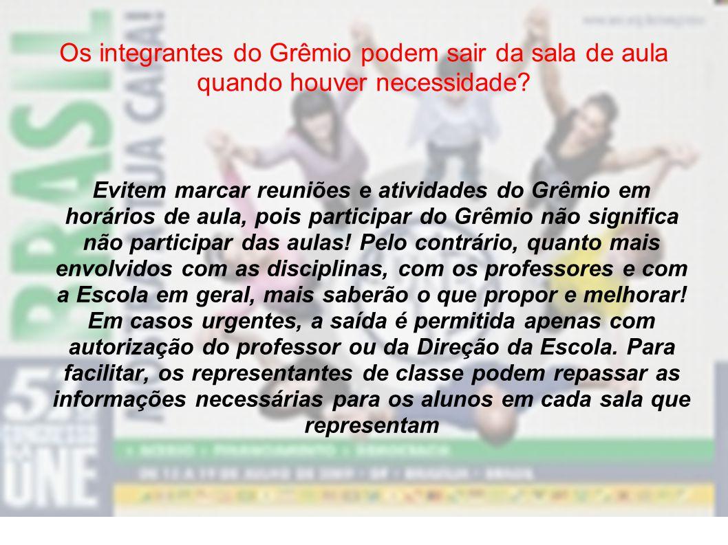 Os integrantes do Grêmio podem sair da sala de aula quando houver necessidade