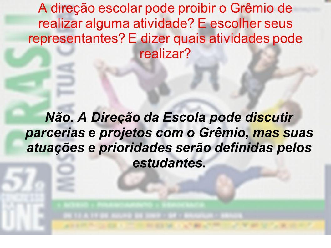 A direção escolar pode proibir o Grêmio de realizar alguma atividade
