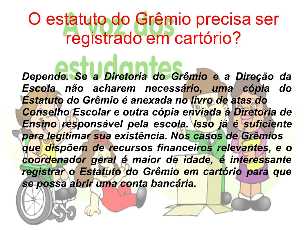 O estatuto do Grêmio precisa ser registrado em cartório
