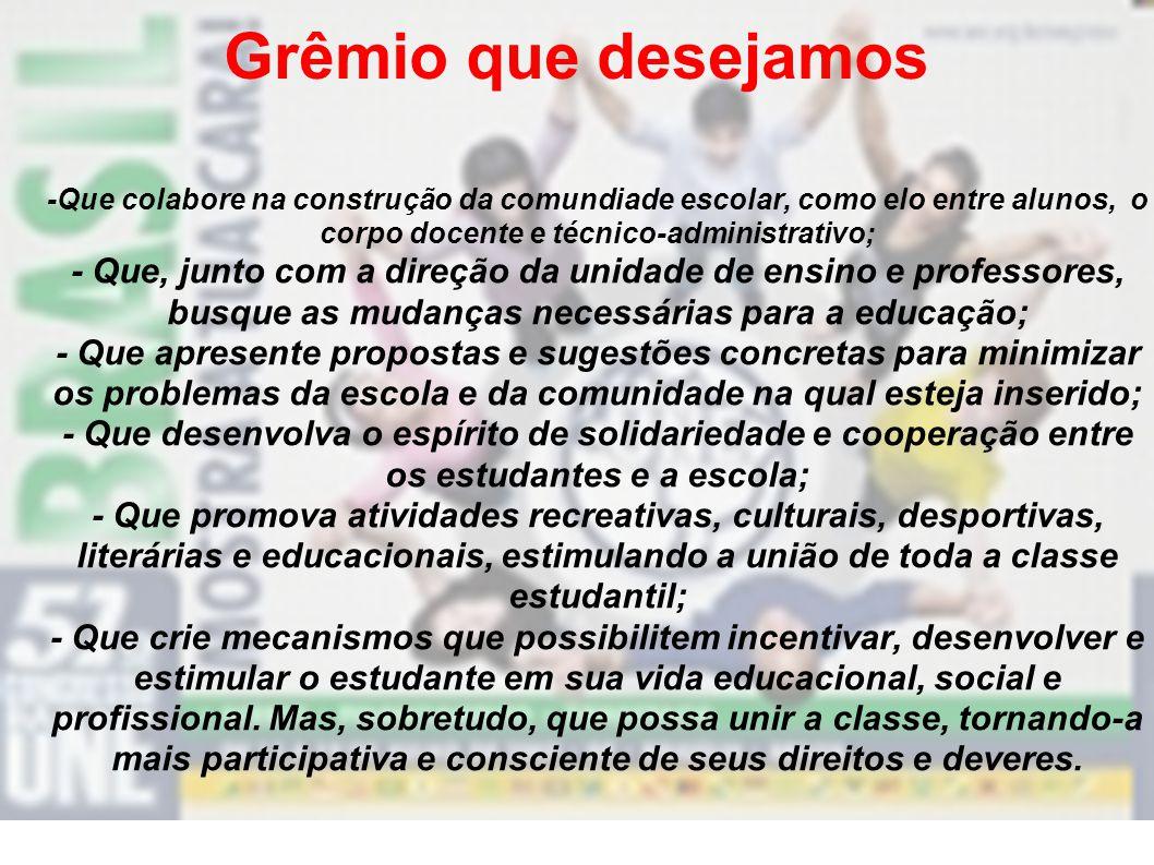 Grêmio que desejamos -Que colabore na construção da comundiade escolar, como elo entre alunos, o corpo docente e técnico-administrativo;