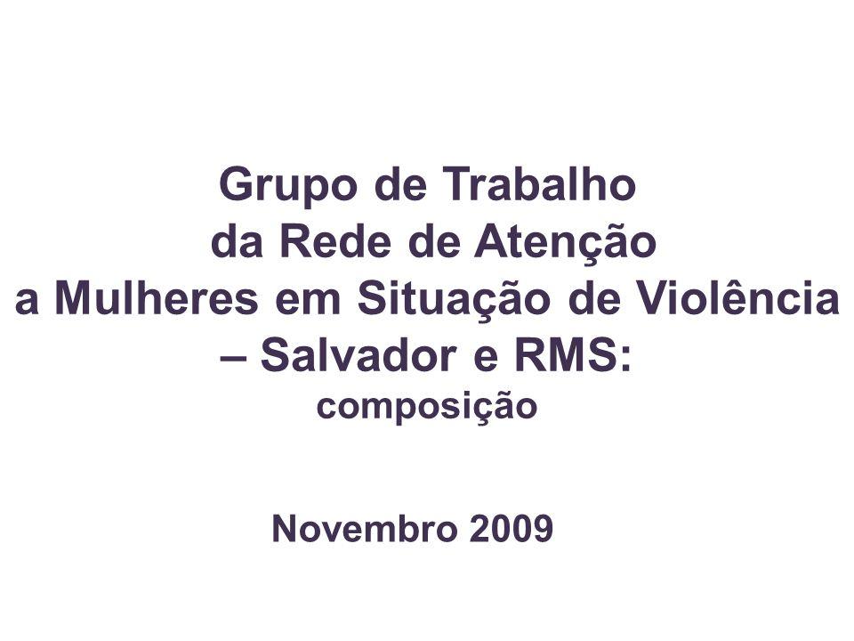 Grupo de Trabalho da Rede de Atenção a Mulheres em Situação de Violência – Salvador e RMS: composição