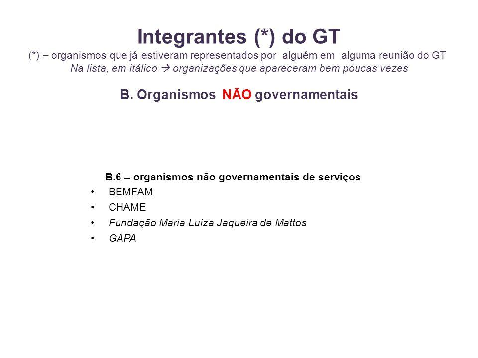 B.6 – organismos não governamentais de serviços