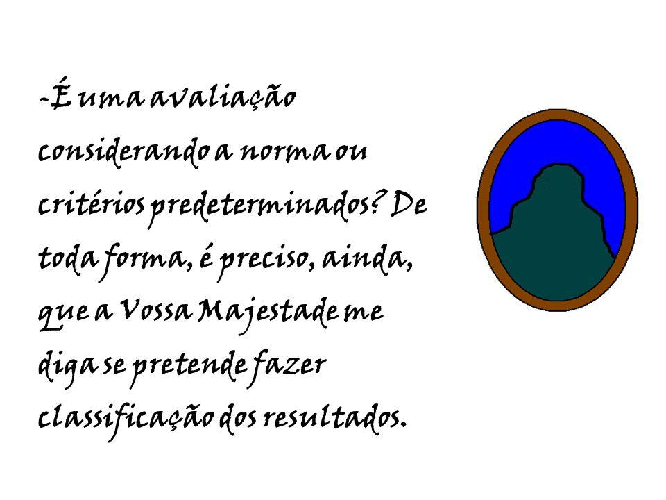 -É uma avaliação considerando a norma ou critérios predeterminados
