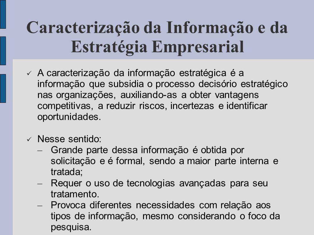 Caracterização da Informação e da Estratégia Empresarial