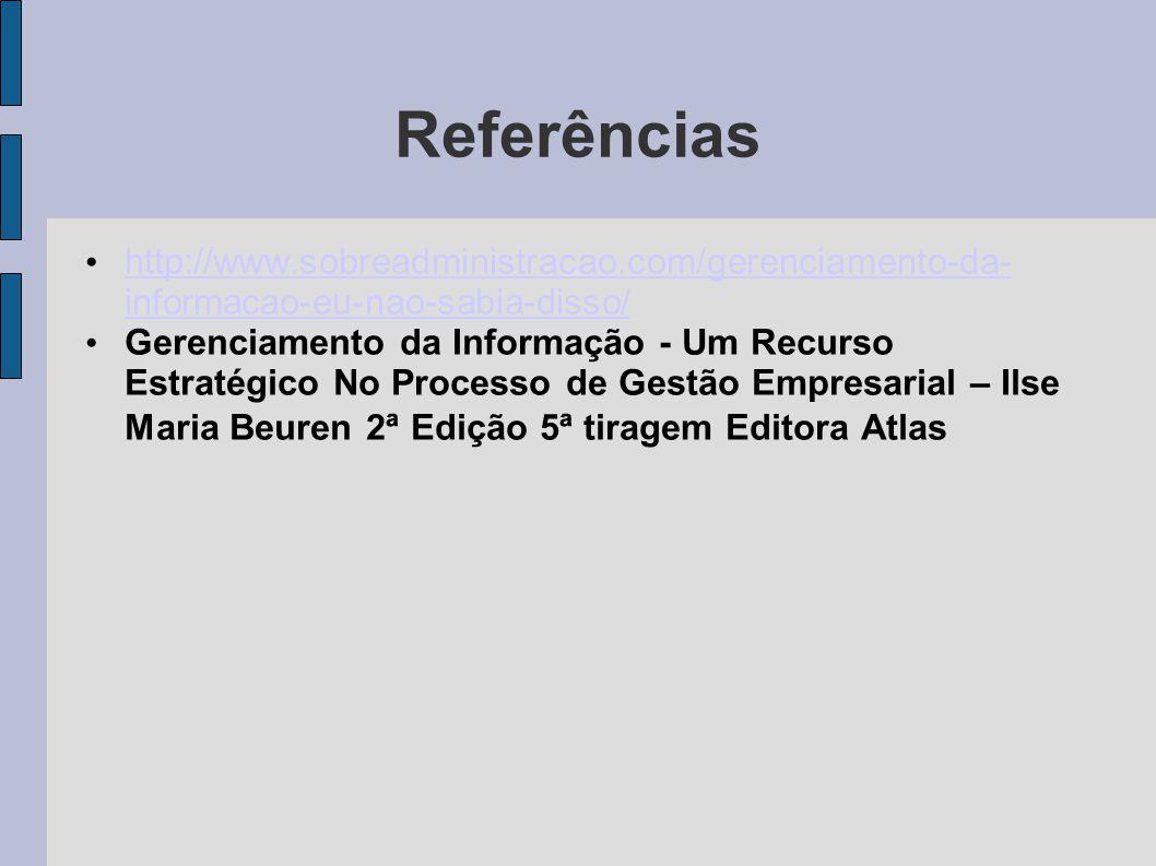 Referências http://www.sobreadministracao.com/gerenciamento-da-informacao-eu-nao-sabia-disso/
