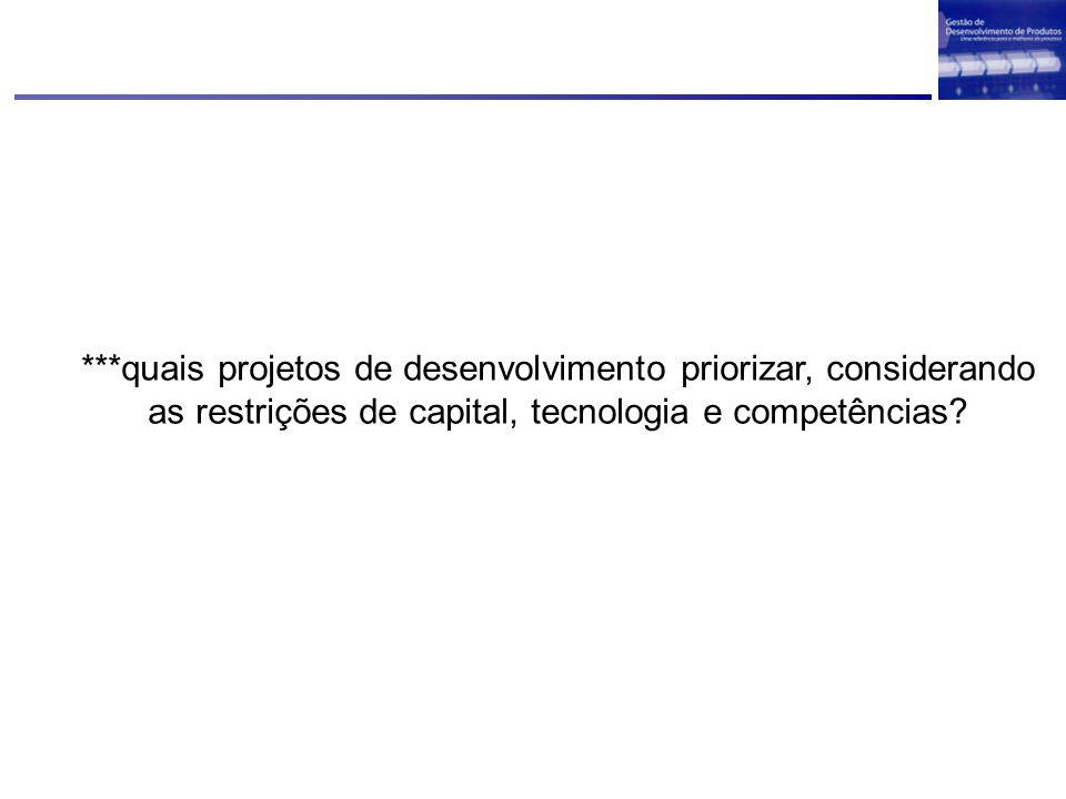 ***quais projetos de desenvolvimento priorizar, considerando as restrições de capital, tecnologia e competências