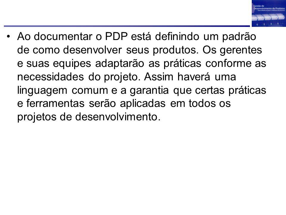 Ao documentar o PDP está definindo um padrão de como desenvolver seus produtos.