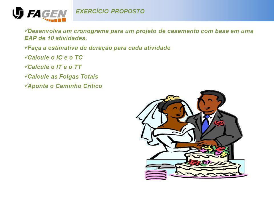 EXERCÍCIO PROPOSTO Desenvolva um cronograma para um projeto de casamento com base em uma EAP de 10 atividades.