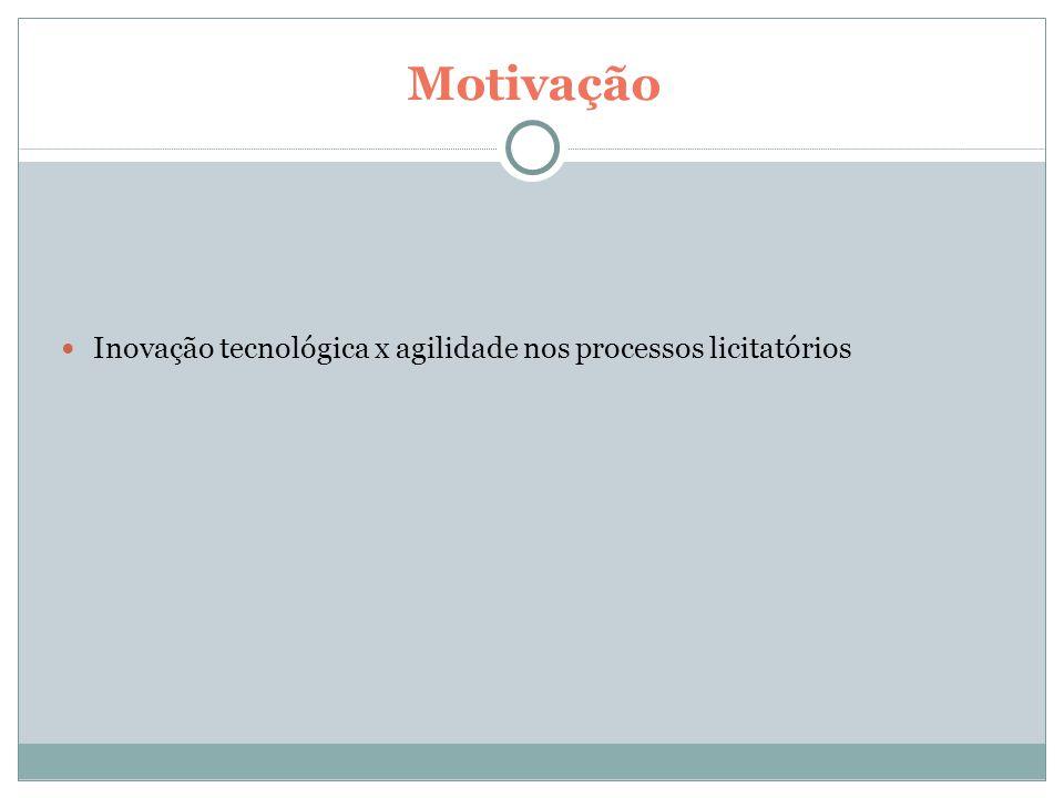 Motivação Inovação tecnológica x agilidade nos processos licitatórios