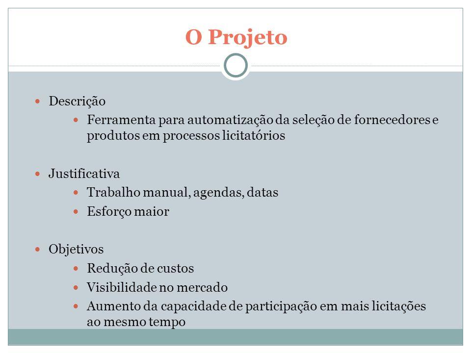 O Projeto Descrição. Ferramenta para automatização da seleção de fornecedores e produtos em processos licitatórios.