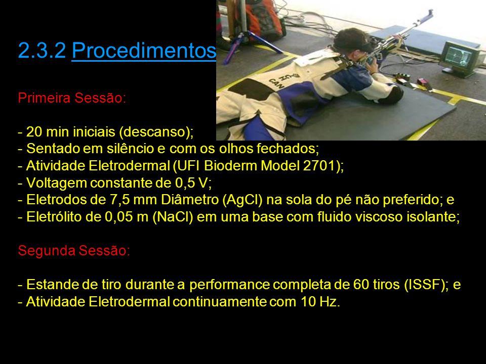 2.3.2 Procedimentos Primeira Sessão: - 20 min iniciais (descanso); - Sentado em silêncio e com os olhos fechados; - Atividade Eletrodermal (UFI Bioderm Model 2701); - Voltagem constante de 0,5 V; - Eletrodos de 7,5 mm Diâmetro (AgCl) na sola do pé não preferido; e - Eletrólito de 0,05 m (NaCl) em uma base com fluido viscoso isolante; Segunda Sessão: - Estande de tiro durante a performance completa de 60 tiros (ISSF); e - Atividade Eletrodermal continuamente com 10 Hz.