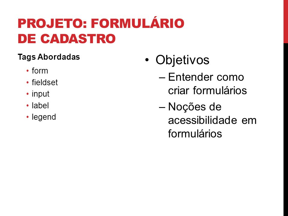 Projeto: Formulário de cadastro
