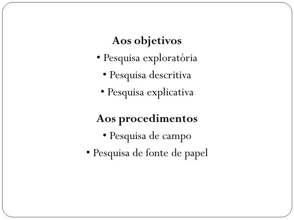 Aos objetivos • Pesquisa exploratória • Pesquisa descritiva • Pesquisa explicativa Aos procedimentos • Pesquisa de campo • Pesquisa de fonte de papel