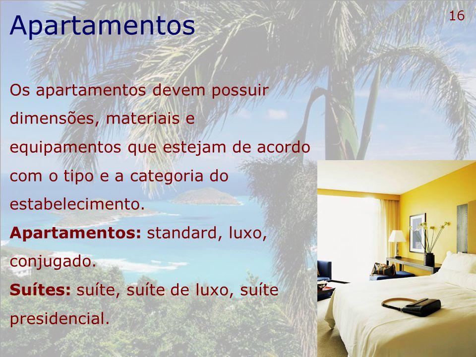Apartamentos Os apartamentos devem possuir dimensões, materiais e