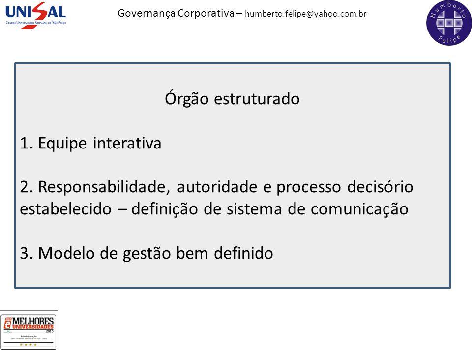 Órgão estruturado 1. Equipe interativa. 2. Responsabilidade, autoridade e processo decisório estabelecido – definição de sistema de comunicação.