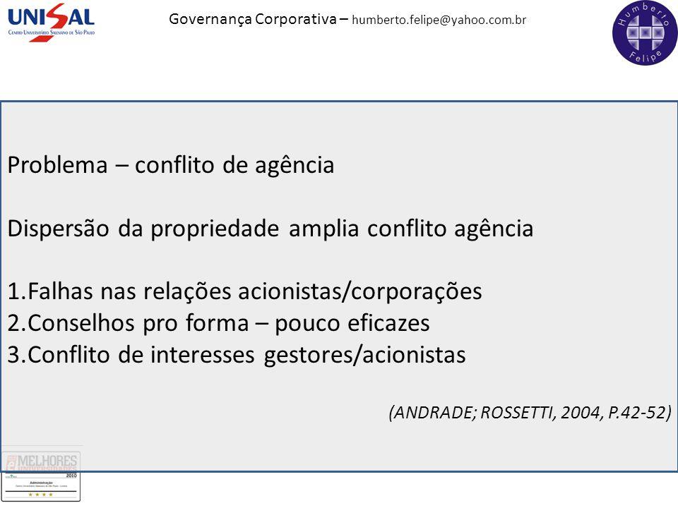 Problema – conflito de agência