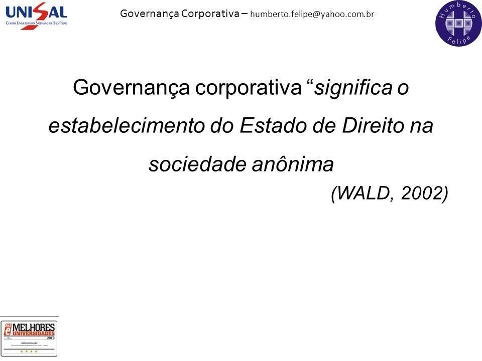 Governança corporativa significa o estabelecimento do Estado de Direito na sociedade anônima