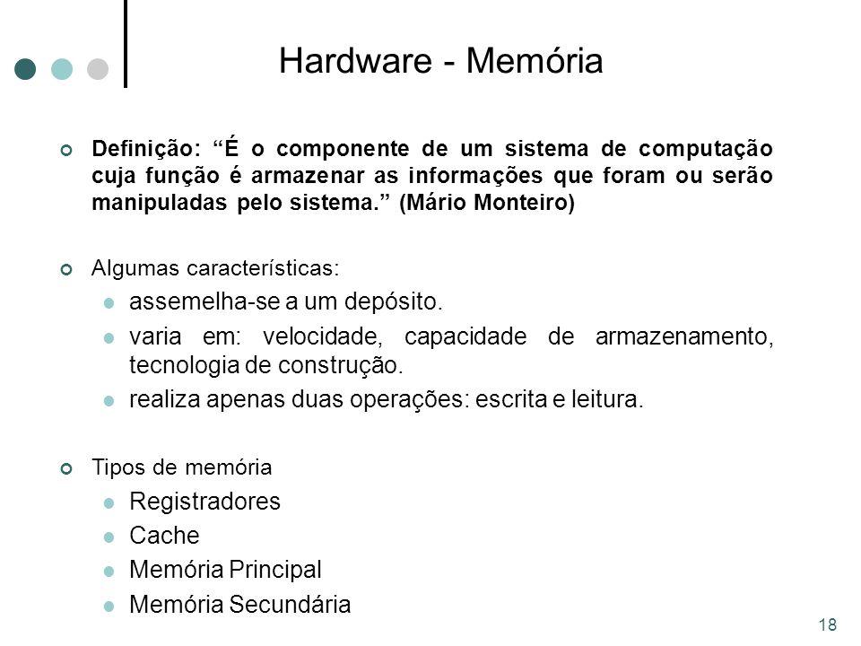 Hardware - Memória assemelha-se a um depósito.