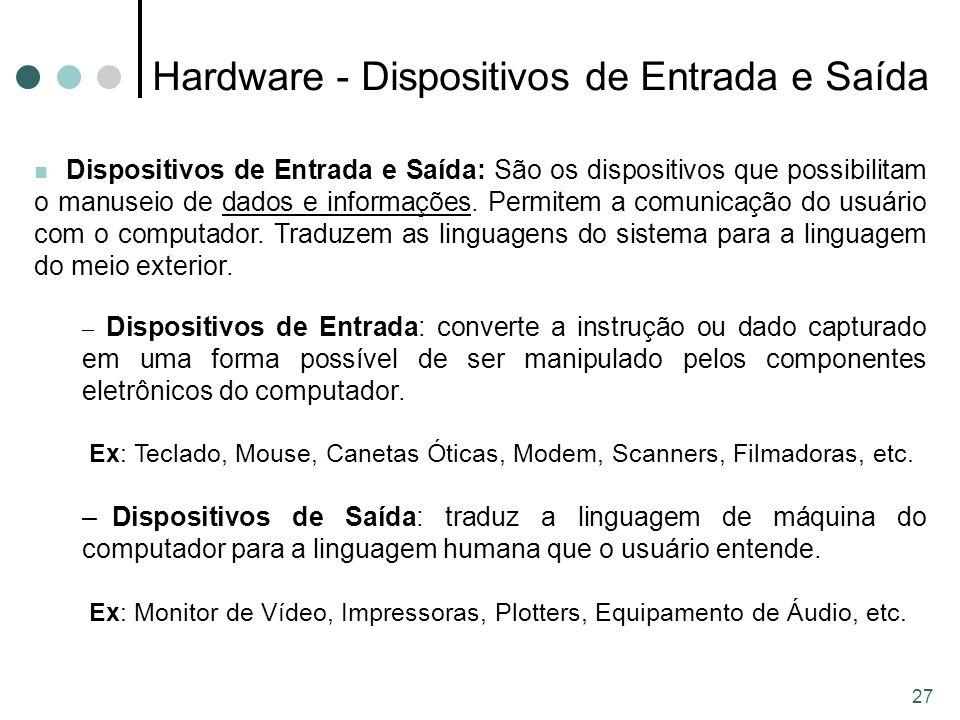 Hardware - Dispositivos de Entrada e Saída
