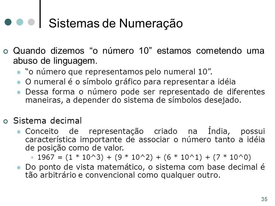 Sistemas de Numeração Quando dizemos o número 10 estamos cometendo uma abuso de linguagem. o número que representamos pelo numeral 10 .