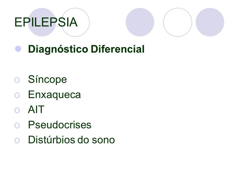 EPILEPSIA Diagnóstico Diferencial Síncope Enxaqueca AIT Pseudocrises