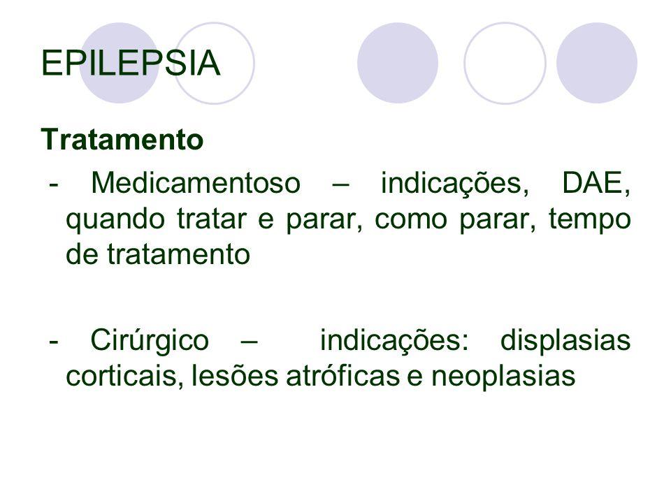 EPILEPSIA Tratamento. - Medicamentoso – indicações, DAE, quando tratar e parar, como parar, tempo de tratamento.