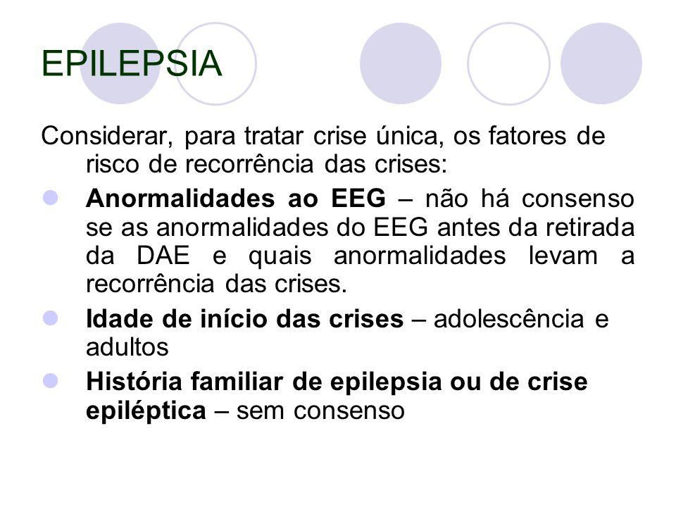 EPILEPSIA Considerar, para tratar crise única, os fatores de risco de recorrência das crises: