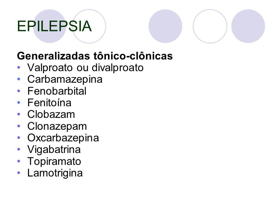 EPILEPSIA Generalizadas tônico-clônicas Valproato ou divalproato
