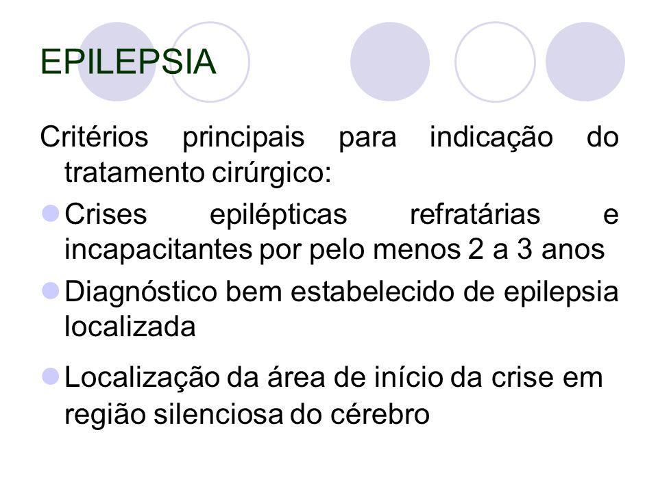 EPILEPSIA Critérios principais para indicação do tratamento cirúrgico: