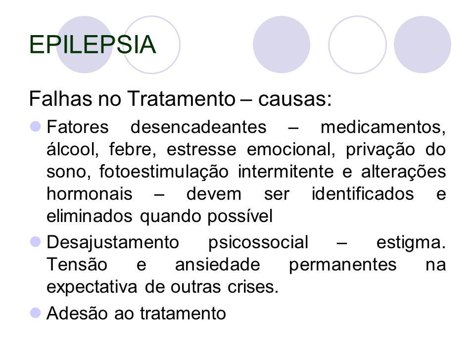 EPILEPSIA Falhas no Tratamento – causas:
