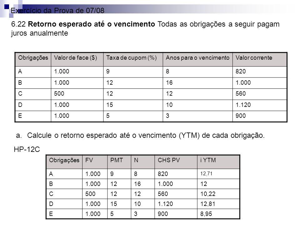 Calcule o retorno esperado até o vencimento (YTM) de cada obrigação.