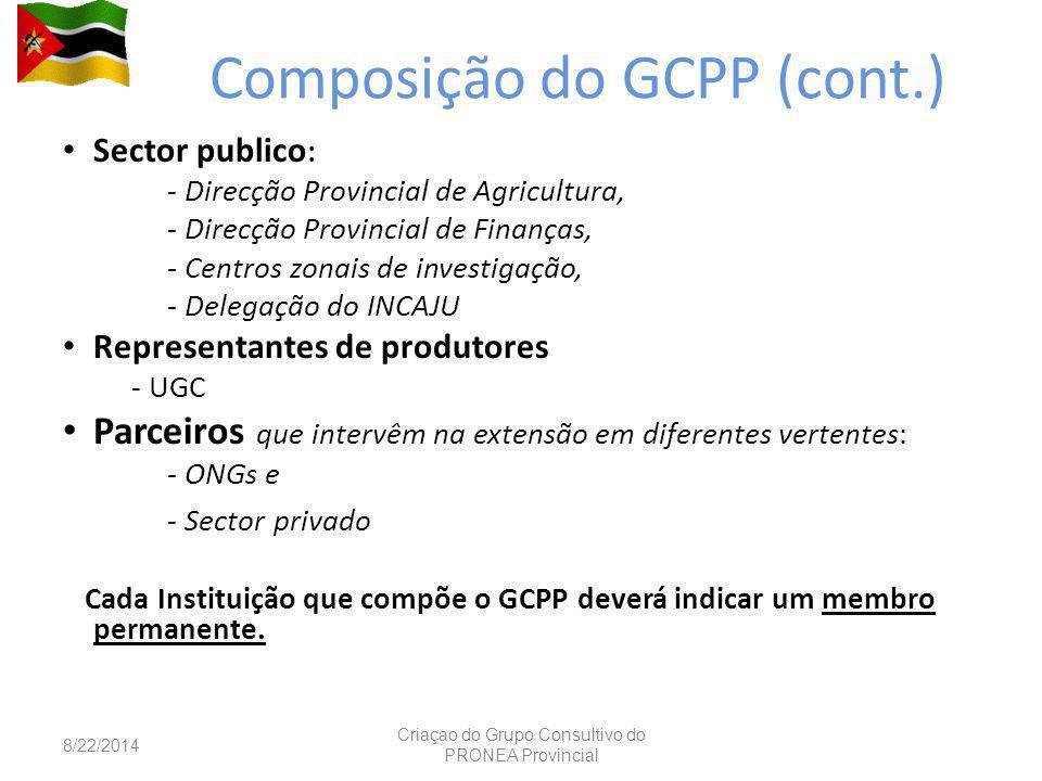 Composição do GCPP (cont.)