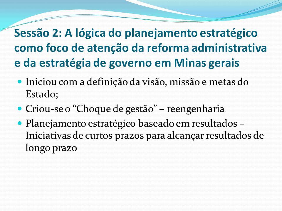 Sessão 2: A lógica do planejamento estratégico como foco de atenção da reforma administrativa e da estratégia de governo em Minas gerais